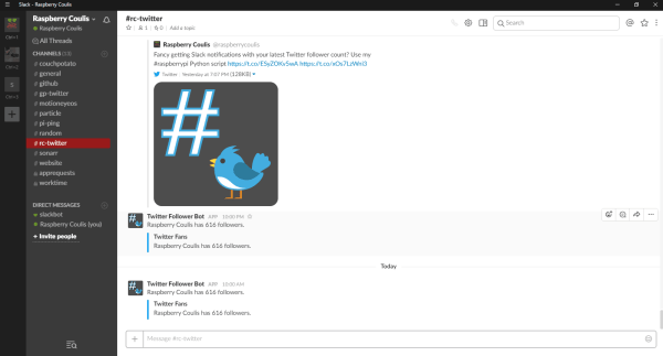 How to setup Slack notifications on Raspberry Pi for Twitter and Facebook