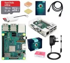 ABOX Raspberry Pi 3 B+ Model B Plus Desktop Starter Kit Clear Case 16GB Class 10