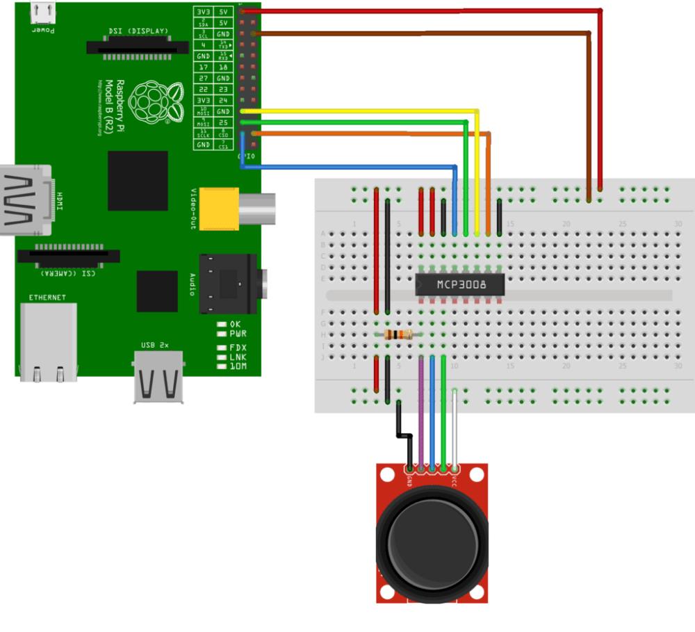 medium resolution of mcp3008 and joystick circuit