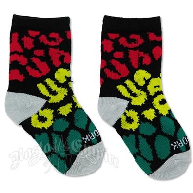 Rasta Leopard Infant Black Socks
