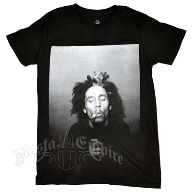 Bob Marley B&W Smoking Black T-Shirt – Men's
