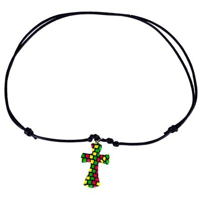 Rasta Fimo Cross Leather Necklace