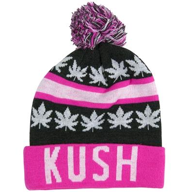 Kush Leaves Pom Pom Pink & Gray Beanie