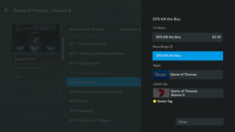 Episode selection between all available types