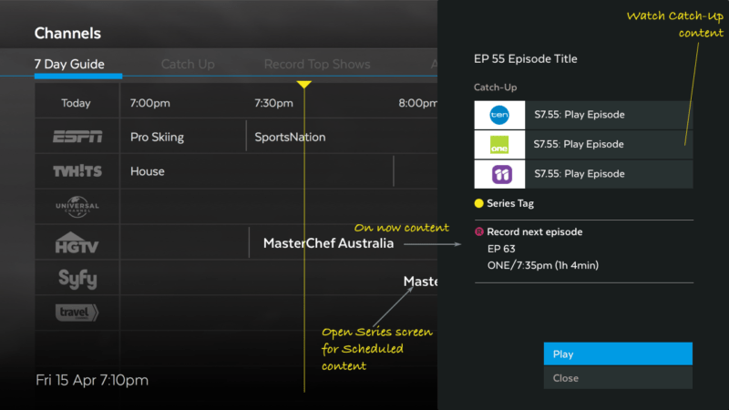 TV Guide - User controllable functions