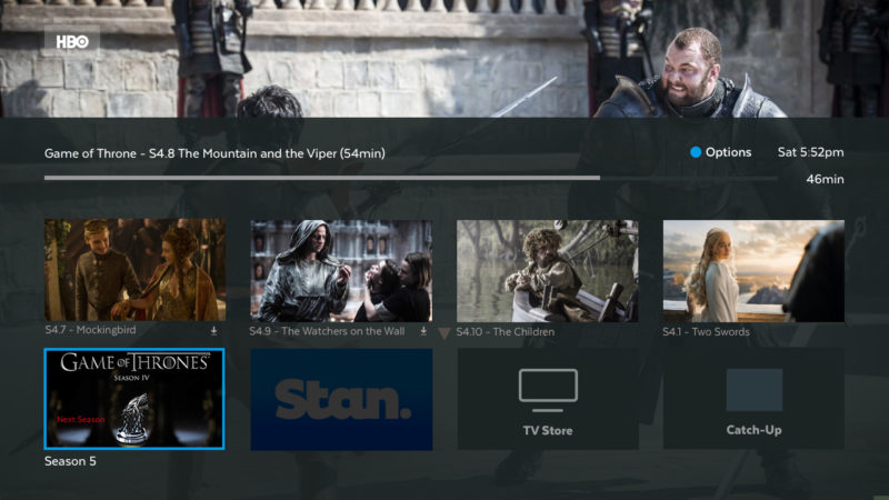 Options for the relevant TV Show or episode on Progress bar.