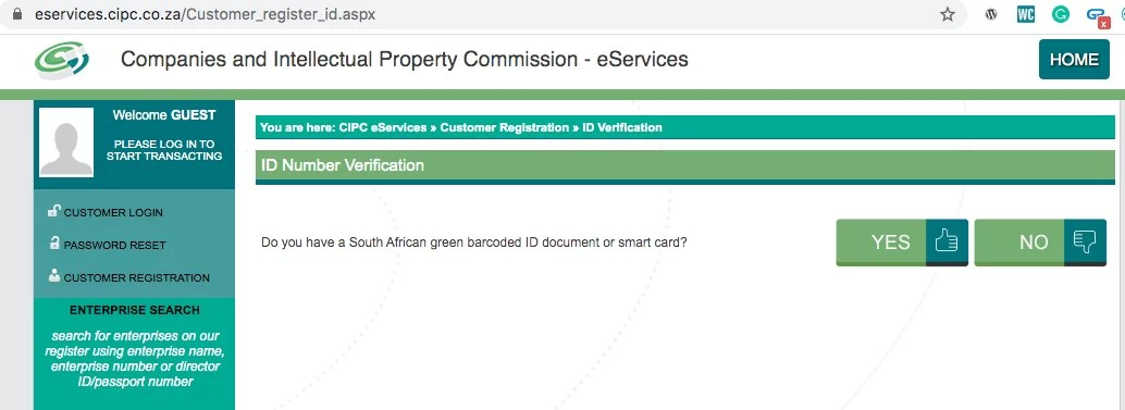 Indicate if you are a South Africa or not while registering a company