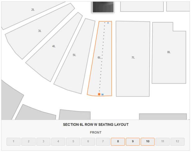 How Many Seats Are In Section 6l Row W At Bjcc Arena