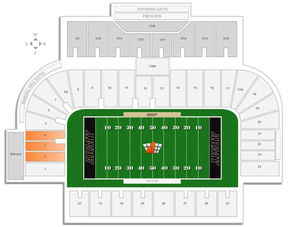 medium resolution of visiting team seating sections at michie stadium