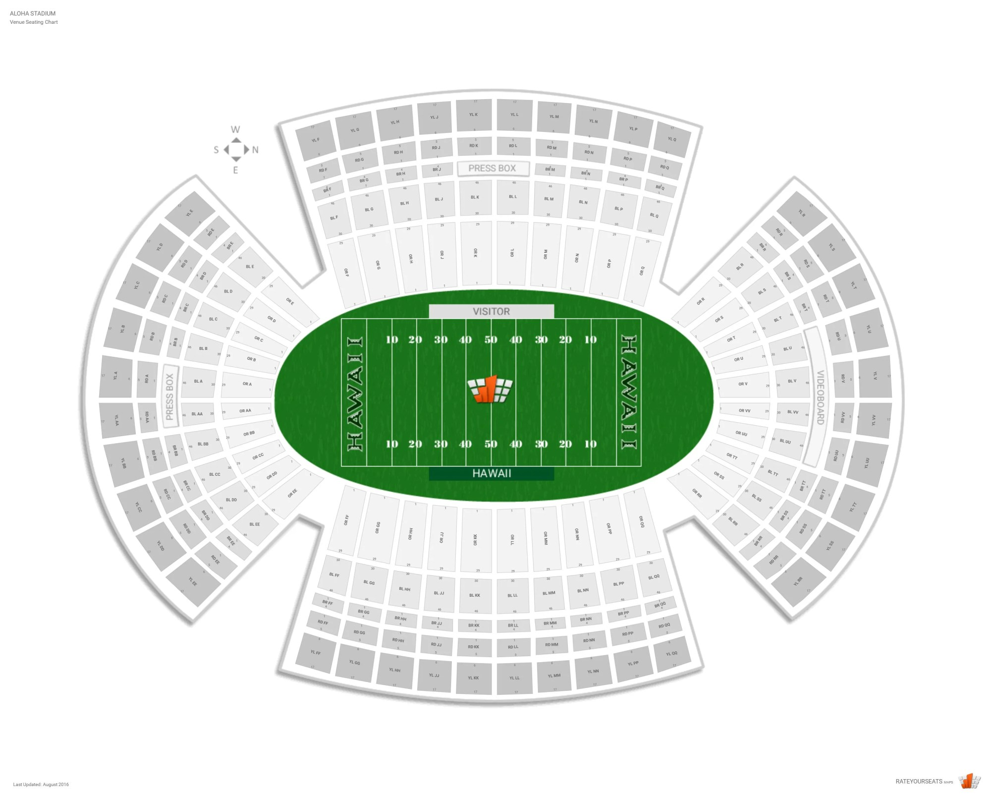 hight resolution of aloha stadium seating chart with row numbers