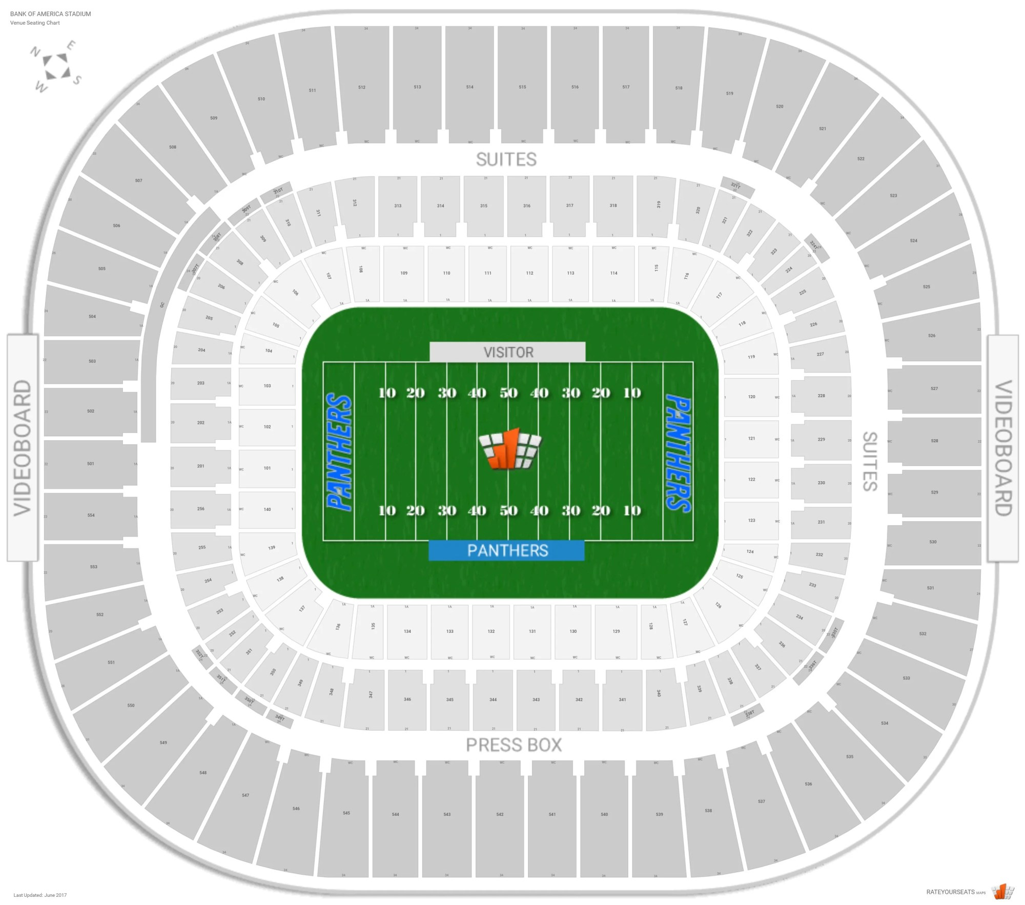 hight resolution of bank of america stadium seating chart with row numbers