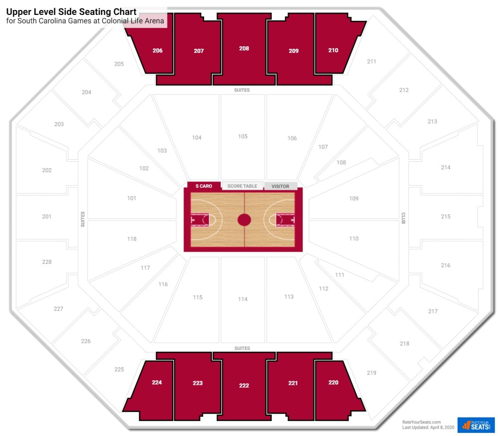 medium resolution of colonial life arena upper level side seating chart