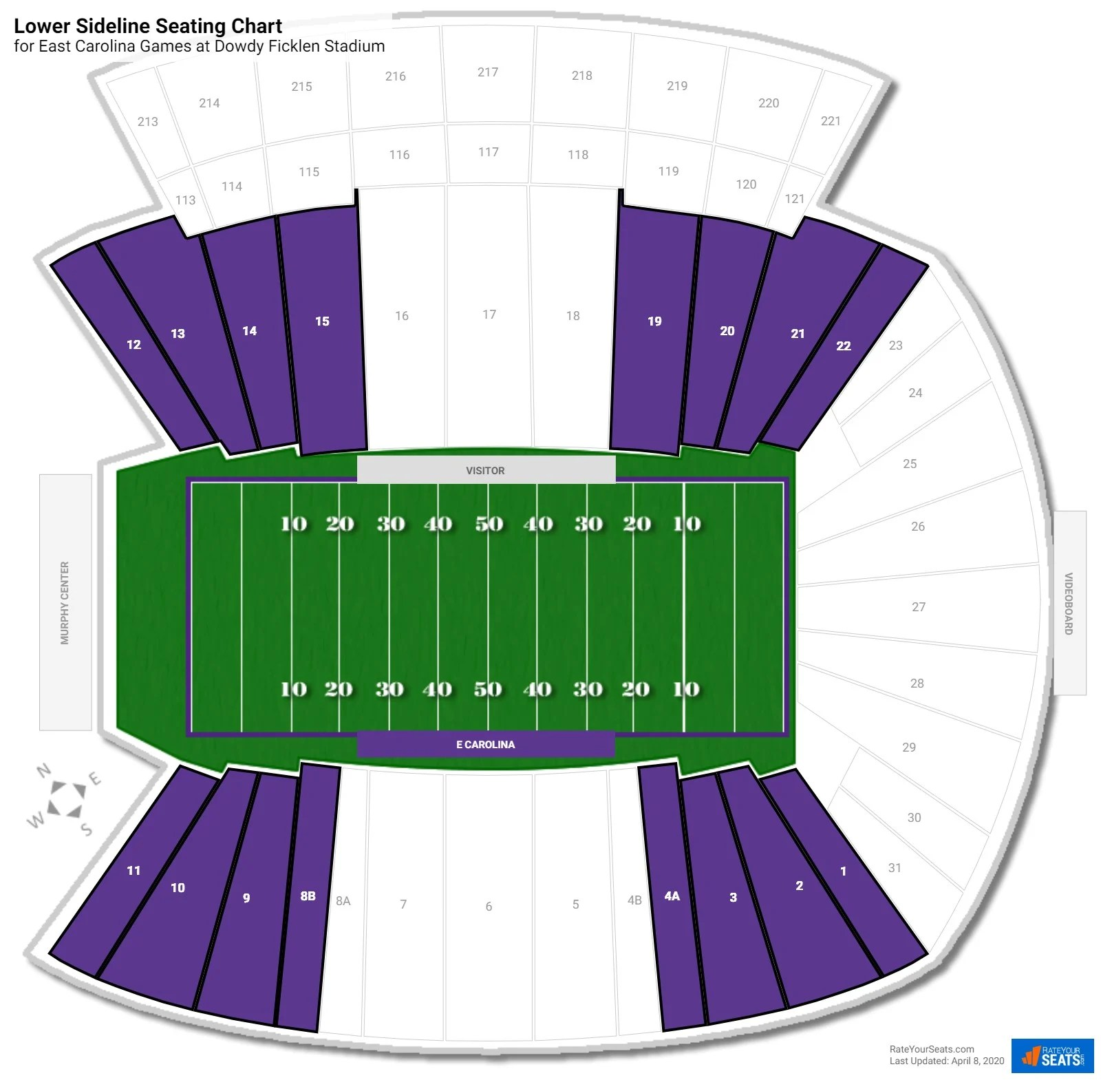 Dowdy Ficklen Stadium East Carolina Seating Guide