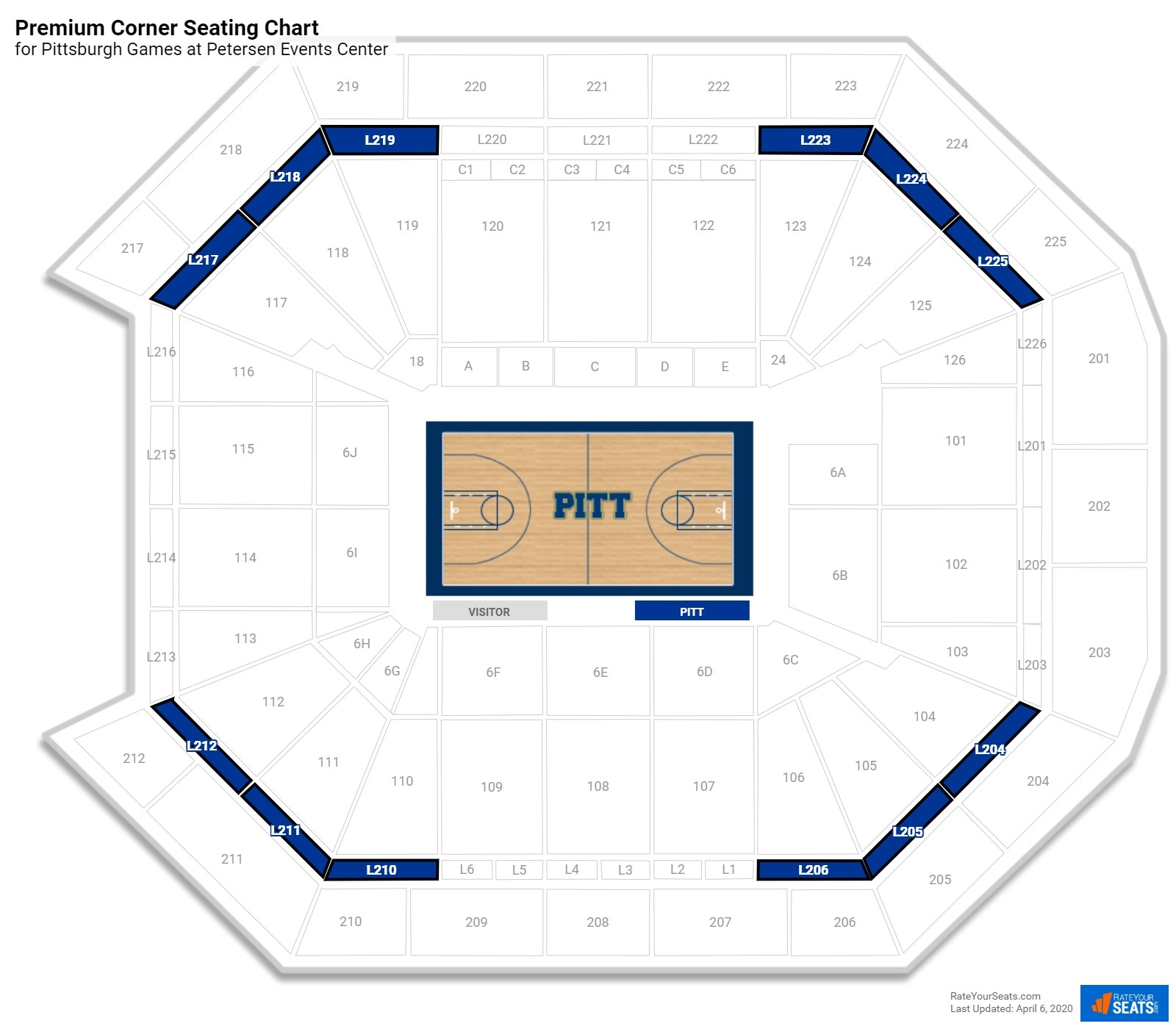 hight resolution of petersen events center premium corner seating chart