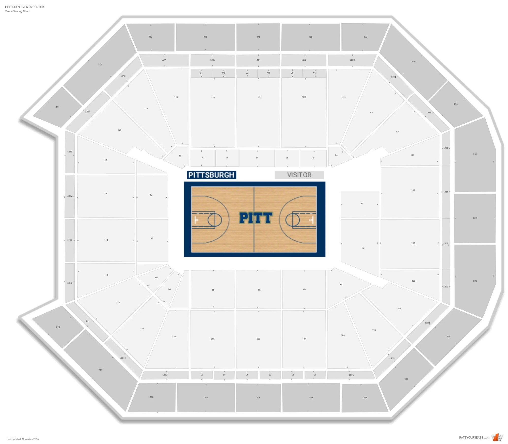 hight resolution of petersen events center seating chart with row numbers