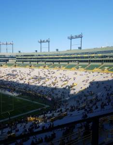 The sunny side of lambeau field is east in particular club seats sections will see sun for longest period time also green bay packers seating guide rateyourseats rh
