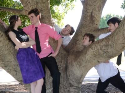 Photo of cast. Elyse Keller (Princess of France), Robert Lewis (The King of Navarre), Liam Walsh (Longaville), Adam Hall (Dumaine) and Alex Simpson (Biron)