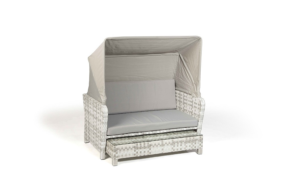Rattan Lounge Chair Sonnenliege Lorena Grau Weiss
