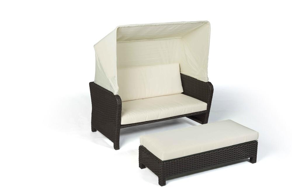 Rattan Lounge Chair Sonnenliege Lorena Braun