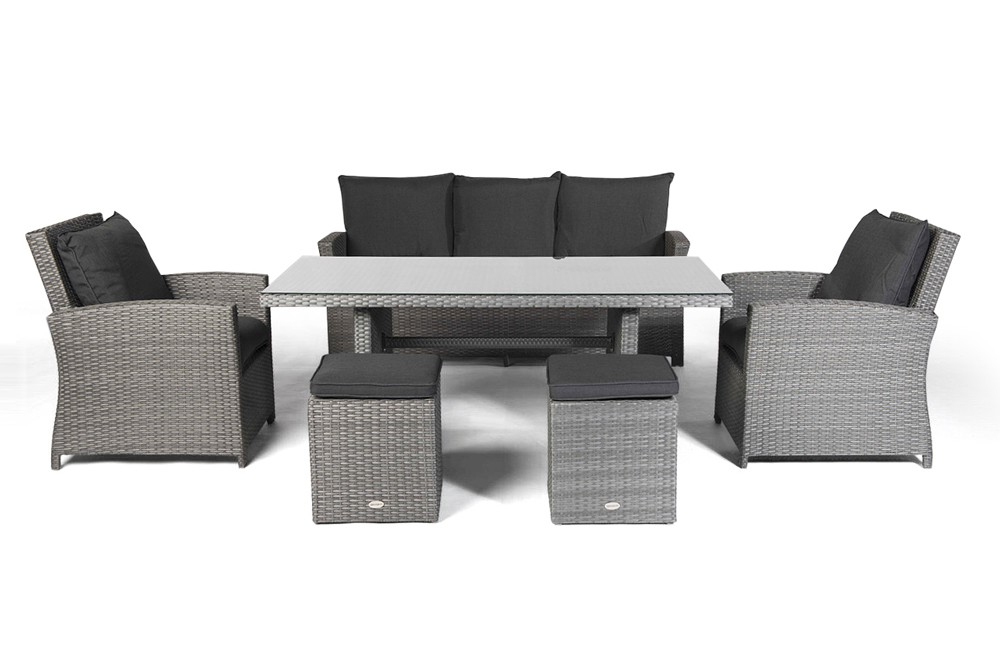 gartenmobel rattan lounge brooklyn mix grau - boisholz,