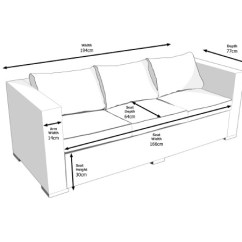 Standard Sofa Length And Width Karlstad Leather Bed Ascot 3 Seat Outdoor Rattan In Grey
