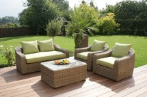 Maze Rattan Natural Milan Rounded Sofa Set