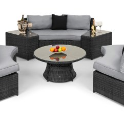 Maze Rattan Half Moon Sofa Set Grey Upholstery Fabric India Stkittsvilla