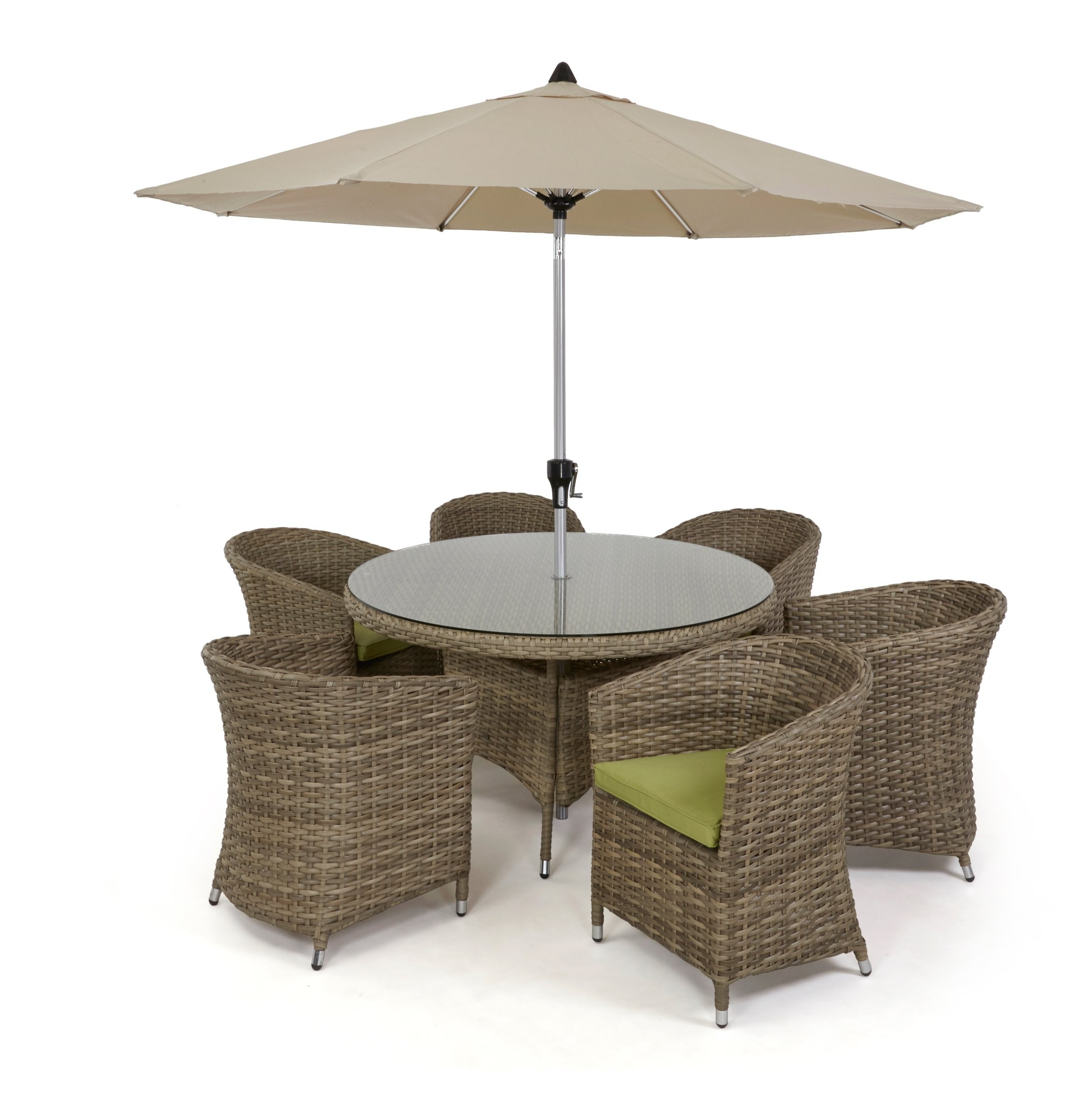 maze rattan natural milan corner sofa set green cushions toddler flip out kmart 6 seat dining with rounded
