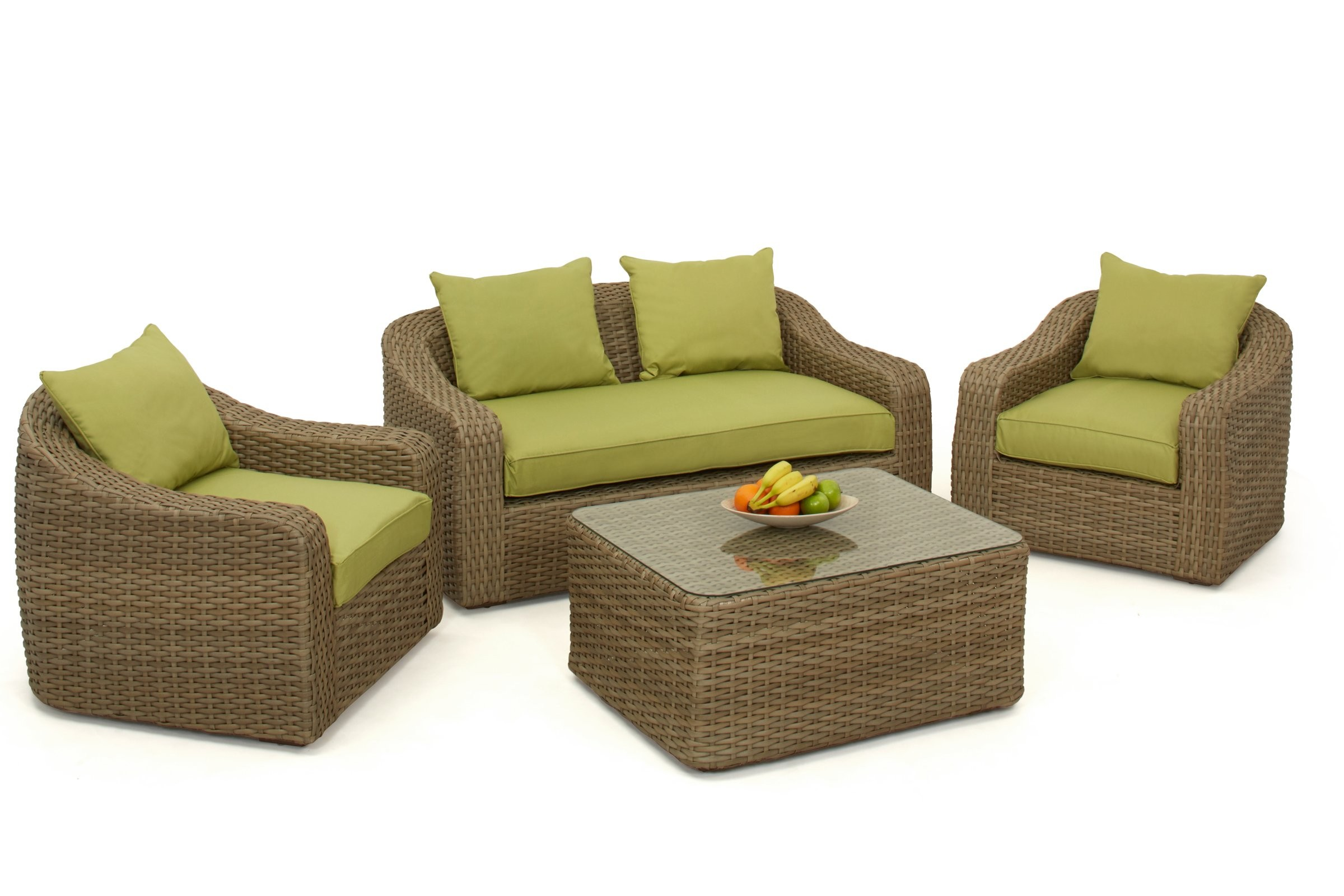 maze rattan natural milan corner sofa set green cushions avenue pearl leather rounded | ...