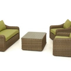 Maze Rattan Natural Milan Corner Sofa Set Green Cushions Bed Chaise Lounge Sydney Rounded