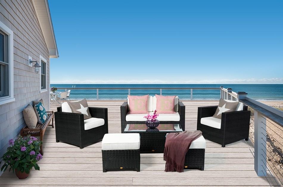 Rattan Gartenmoebel  Dallas  Luxus  Lounge  schwarz