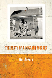 cover of The Death of a Migrant Worker, black and white family photographs on an orange and white wall