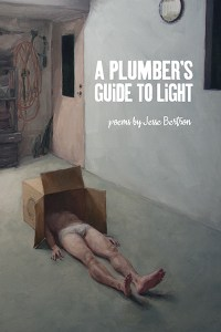 Cover of A Plumber's Guide to Light, a painting of a man in a garage lying down with his head in a cardboard box
