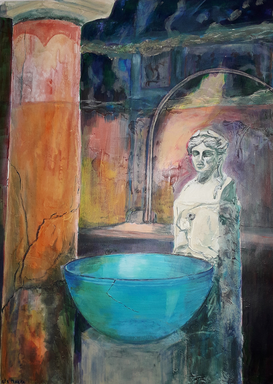 Painting of armless Roman statue and a blue bowl on a pedestal