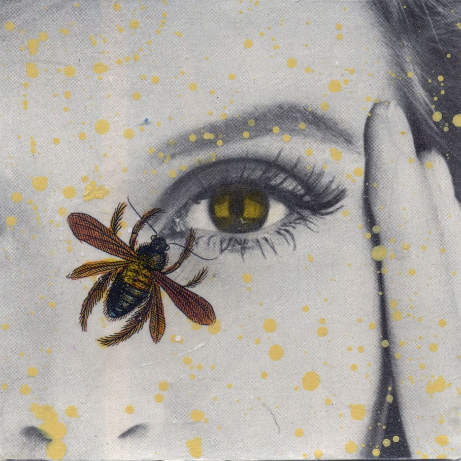 Photo collage of a bee near a woman's eye