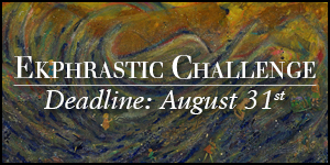 Ekphrastic Challenge, deadline at the end of the month, a swirl of brown and green dust with flying dolls
