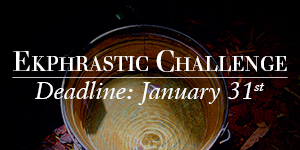 Ekphrastic Challenge, deadline at the end of the month, photograph of a bucket filled with water and ripples