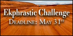 Ekphrastic Challenge, deadline at the end of the month, image of wide red dirt road