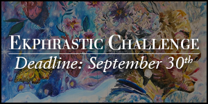 Ekphrastic Challenge, deadline at the end of the month, image by Rachel Slotnick, collage painting of Maya Angelou with hearts and butterflies