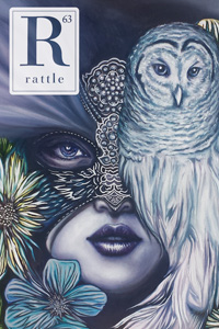cover of issue 63, woman with mask and owl