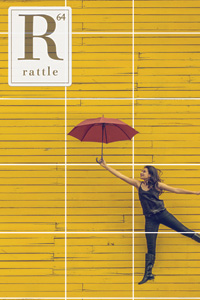Rattle #64 cover, woman with umbrella against yellow wall