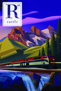 Rattle #68 cover, illustration of a train rolling by a river at dusk