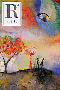 cover of issue 70, colorful painting of two silhouettes pointing up to eyes in the sky