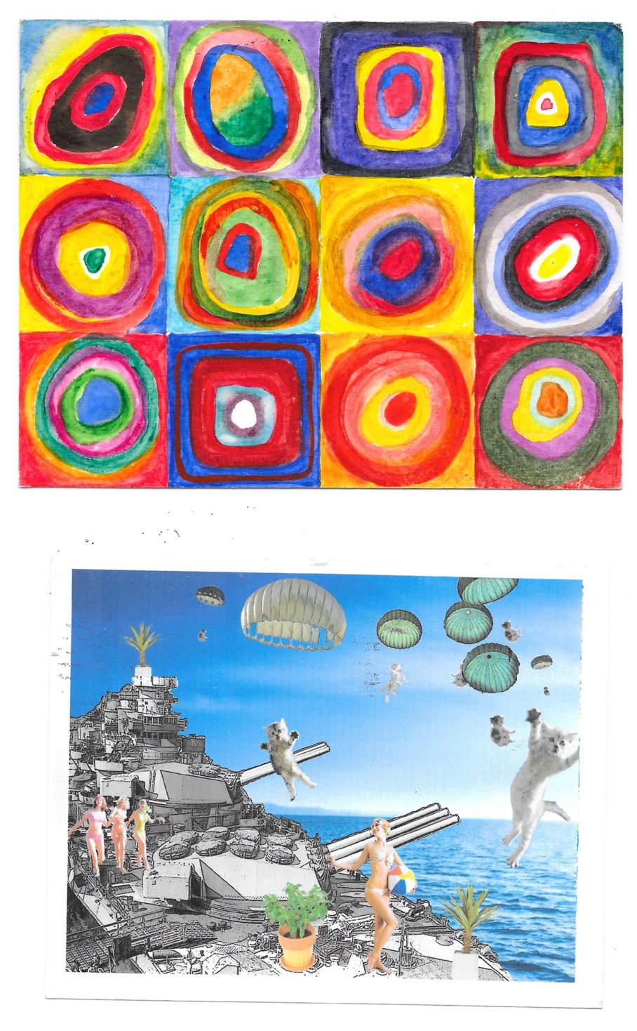 postcards with colorful circles and parachuting cats