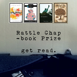 2021 Rattle Chapbook Prize Banner, typewriter paper, text reading Get Read