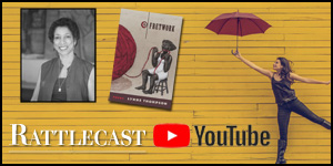 Youtube podcast, image if girl with umbrella, and a poet and book