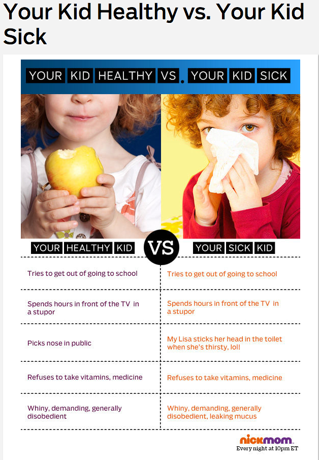 Your Kid Healthy vs. Your Kid Sick   More LOLs   Funny Stuff for Moms   NickMom