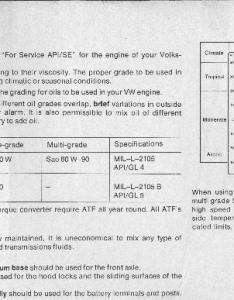In the older owner   manuals vw used to specify sae for mild weather sae cold and atf really printed up guidelines at also gear oil selection rh ratwell