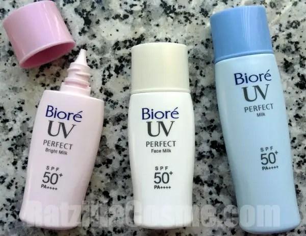 Best Pick Biore UV Perfect Sunscreen Line (2015 formula) bottles