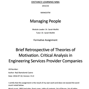 Brief Retrospective of Theories of Motivation. Critical Analysis in Engineering Services Provider Companies